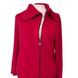CABI Asymmetrical Red Cardigan Zipper Detail M